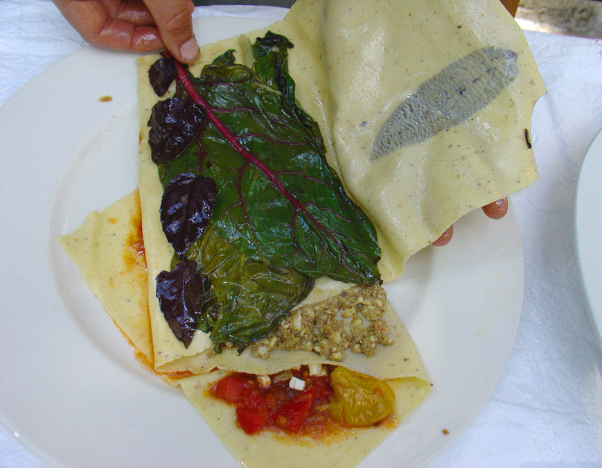 Third fold, third layer, flash-fried chard and wilted purple basil