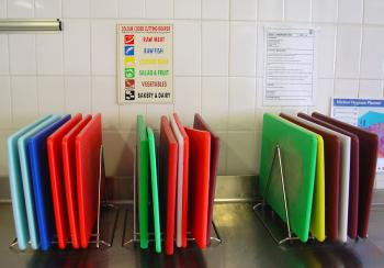 Colour coding in cutting boards images at culiblog.