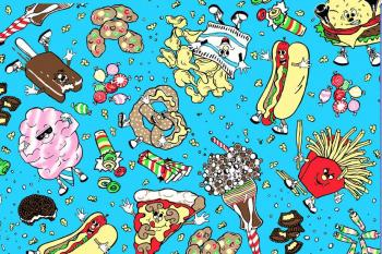 Jeremy Scott junkfood fabric from Food Fight collection - Fall 2006 Ready to Wear