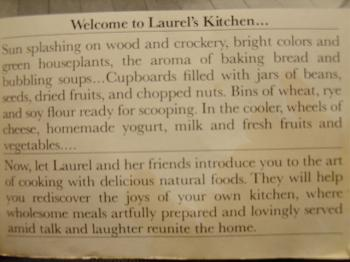 text from inner flap of Laurel's Kitchen