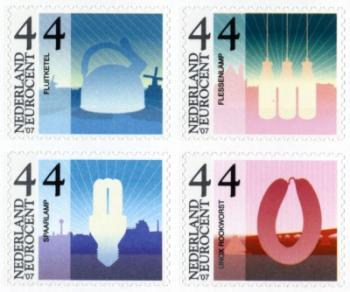 Dutch postage stamps with images of a smoked HEMA sausage and a HEMA water kettle
