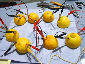 Lemon batteries at Platform 21's Cooking and Constructing exhibition Jan-Mar 31, 2008