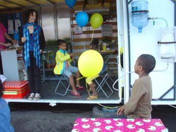 Lucky PiKinderen working hard at playing with balloons, Debra Solomon, culiblog.org