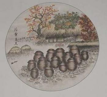 Pen and ink drawing of kimchi pots stored in the public space, also pumpkins growing on the thatch roof, photo by Carpe Feline, Debra Solomon, culiblog.org