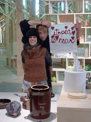 Utopia is near, sign written in food flow fruit leather, Debra Solomon and Paul Freestone from Lucky Mi Fortune Cooking, installation at the City Eco Lab, Debra Solomon, culiblog.org