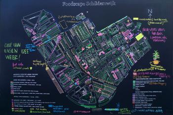 A hand drawn map of the Schilderswijk, showing plans by project authors and suggestions by visitors to the FOODPRINT exhibition, Summer 2009, Debra Solomon, culiblog.org