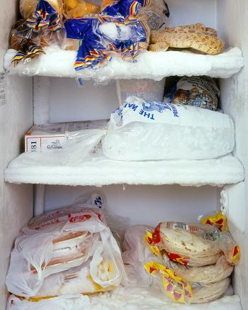 The short order cook's fridge from a series by Mark Menjivar, You Are What You Eat.