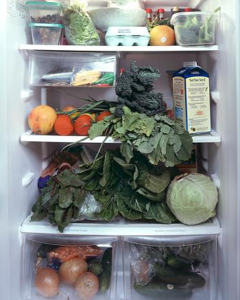 The midwife's fridge from a series by Mark Menjivar, You Are What You Eat.